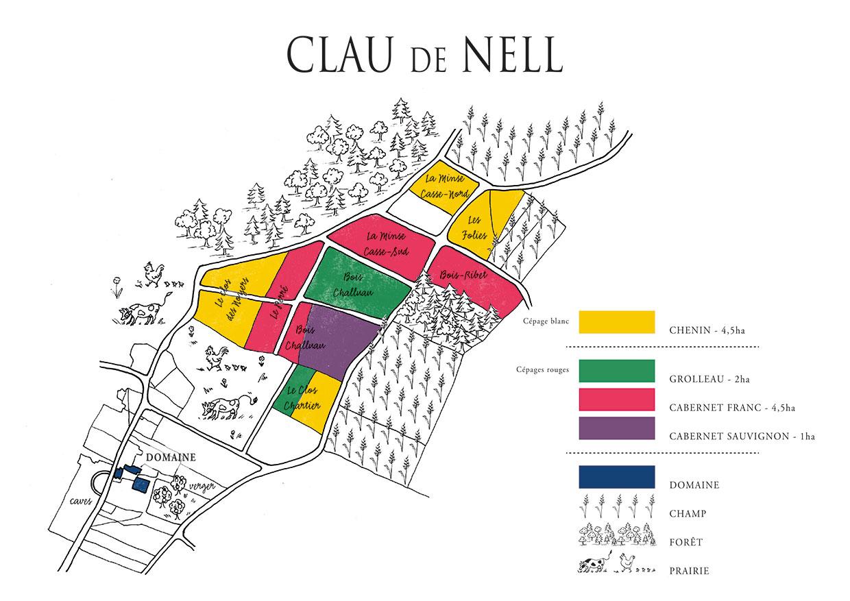 Répartition parcellaire du domaine Clau de Nell