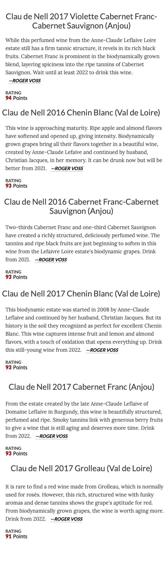 WineEnthusiast - Clau de Nell